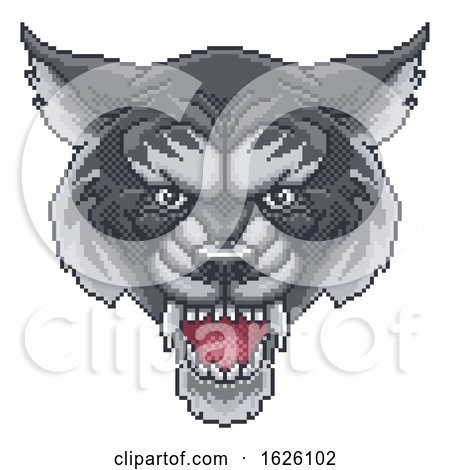 Wolf Pixel Art Arcade Game Cartoon Mascot by AtStockIllustration