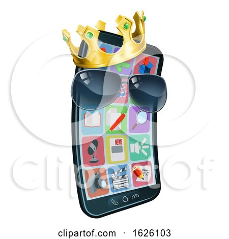 Mobile Phone Cool Shades King Crown Cartoon Mascot by AtStockIllustration