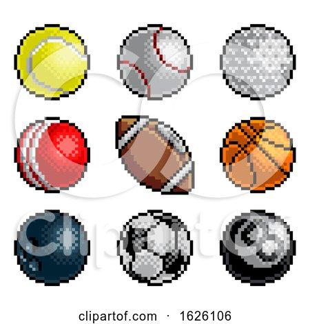 Pixel Art 8 Bit Video Arcade Game Sport Ball Icons by AtStockIllustration