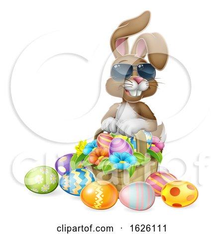 Cool Easter Bunny Rabbit Eggs Hunt Basket Cartoon by AtStockIllustration