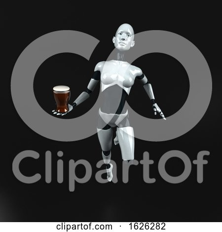 3d Feminine Robot, on a Black Background by Julos