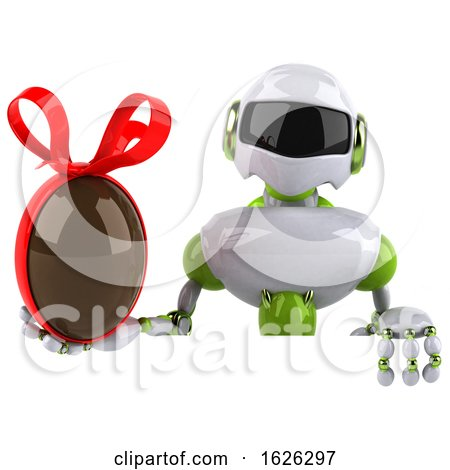 3d Green and White Robot, on a White Background by Julos