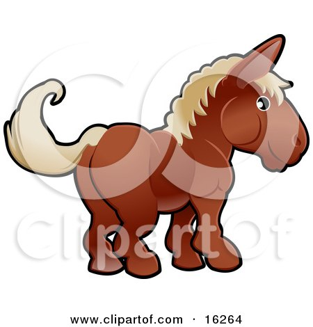 Adorable Brown Horse With Tan Hair Clipart Illustration by AtStockIllustration