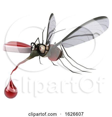 3d Mosquito, on a White Background by Julos