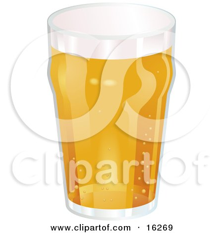 Glass Of Frothy Beer With Bubbles Fizzing From The Bottom To The Top Clipart Illustration by AtStockIllustration
