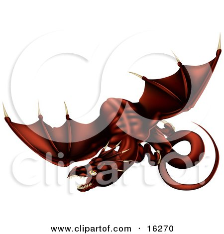 Dark Blood Red Dragon In Flight Over A White Background Clipart Illustration by AtStockIllustration