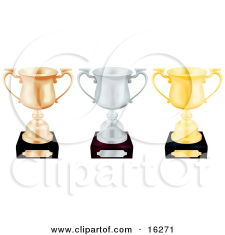 Three Trophy Cups Bronze Silver And Gold Lined Up In A Row Over A White Background Clipart Illustration