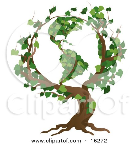 Tree With Branches Growing In The Shape Of The Earth With The America's Featured Clipart Illustration by AtStockIllustration