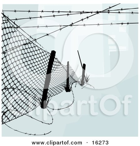 Chainlink Fence With Barbed Wire Along The Top And Bottom To Keep Intruders In Or Out Clipart Illustration by AtStockIllustration