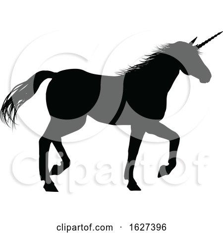 Unicorn Silhouette Horned Horse by AtStockIllustration