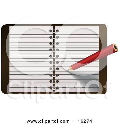 Red Pencil Writing Notes Or A Meeting In A Day Planner, Journal Or Notebook Posters, Art Prints
