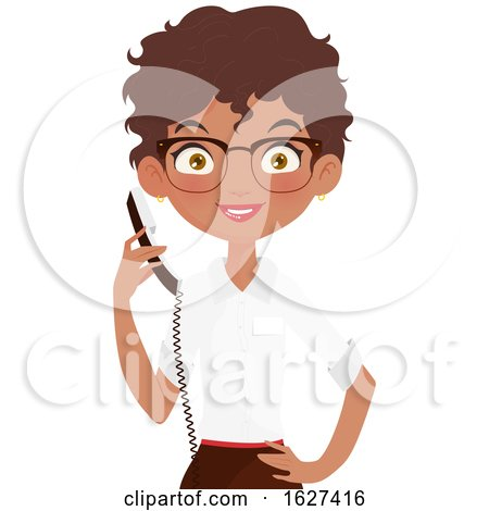 Black Female Receptionist Holding a Telephone by Melisende Vector