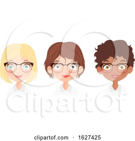 Team of Business Women with Glasses by Melisende Vector