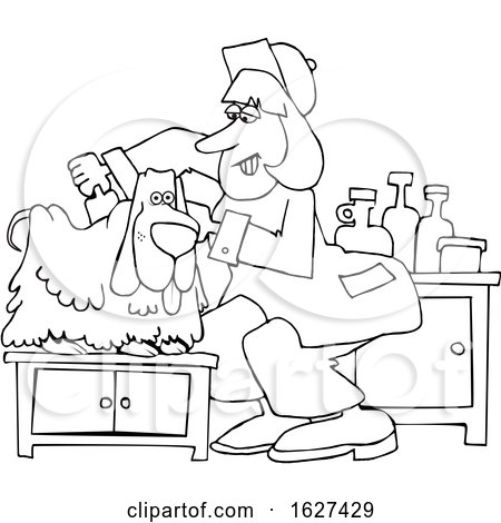 Cartoon Black and White Dog Being Groomed by djart