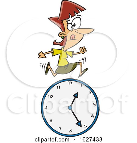 Cartoon White Business Woman Running over a Clock by toonaday