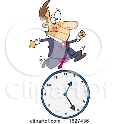 Cartoon White Business Man Running over a Clock by toonaday