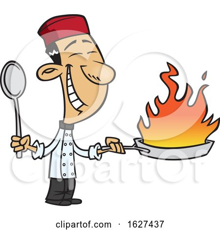 Cartoon Happy Asian Chef Holding a Flaming Wok by toonaday