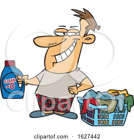 Cartoon Grinning Laundry Lord Man Holding Detergent by a Basket by toonaday