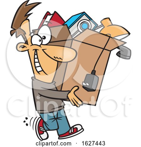 Cartoon Happy White Man Carrying a Box of Stuff to Get Rid of by toonaday