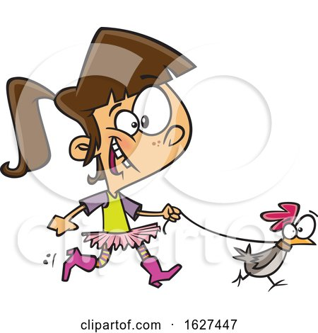 Cartoon White Girl Walking a Chicken on a Leash by toonaday