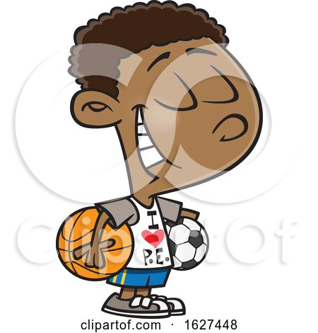 Cartoon Black Boy Wearing an I Love PE Shirt by toonaday