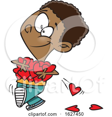 Cartoon Black Boy Holding an Armful of Valentines Day Love Hearts by toonaday