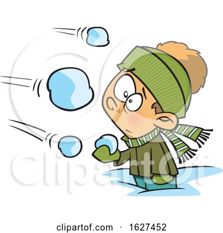 Cartoon White Boy Being Attacked in a Snowball Fight by toonaday