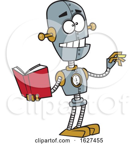 Cartoon Teacher Robot Holding a Book and Chalk by toonaday