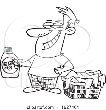 Cartoon Black and White Grinning Laundry Lord Man Holding Detergent by a Basket by toonaday