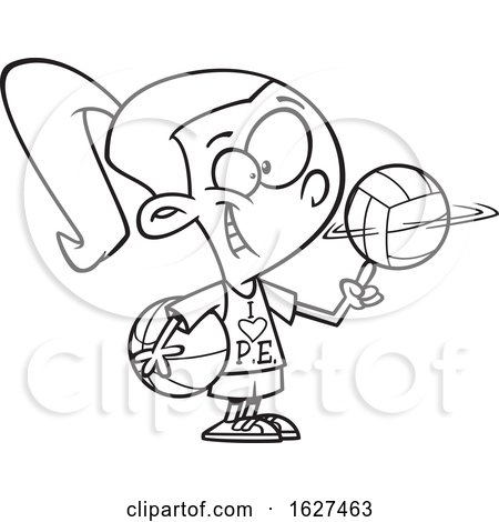 Cartoon Black and White Sporty Girl Wearing an I Love PE Shirt by toonaday