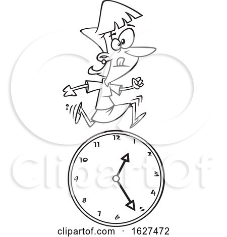 Cartoon Black and White Business Woman Running over a Clock by toonaday