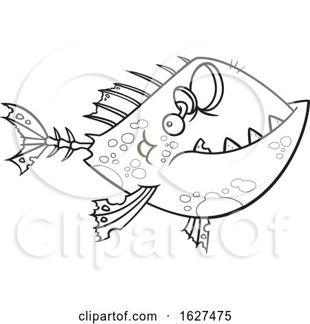 Cartoon Black and White Zombie Fish by toonaday