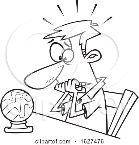 Cartoon Black and White Man Seeing Doom and Gloom in a Crystal Ball Posters, Art Prints