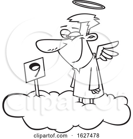 Cartoon Black and White Male Angel Grinning on Cloud Nine by toonaday