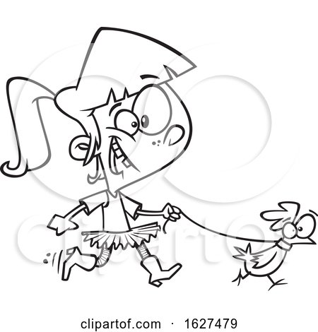 Cartoon Black and White Girl Walking a Chicken on a Leash by toonaday
