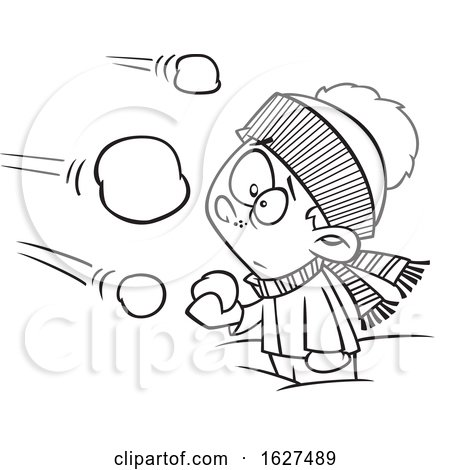 Cartoon Black and White Boy Being Attacked in a Snowball Fight by toonaday