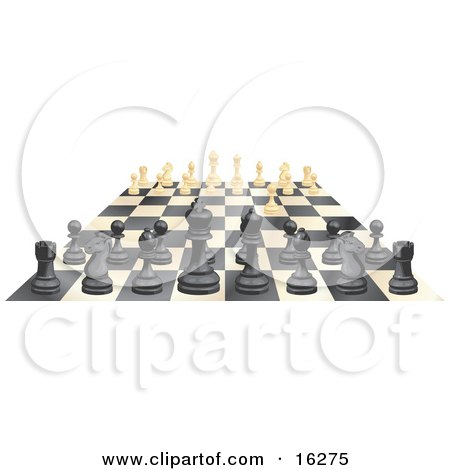 Ebony And Ivory Chess Pieces Lined Up On A Board During A Chess Game, One Ivory Forward Clipart Illustration by AtStockIllustration