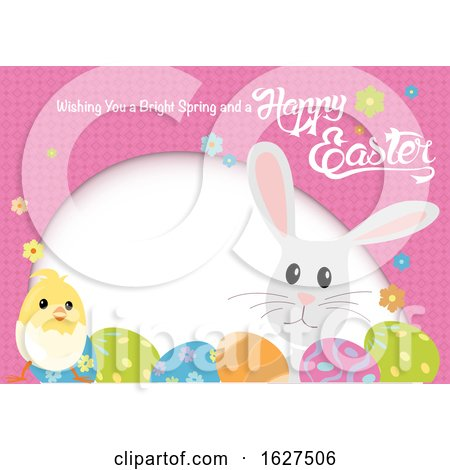 Easter Egg Chick and Bunny Frame with a Greeting Posters, Art Prints