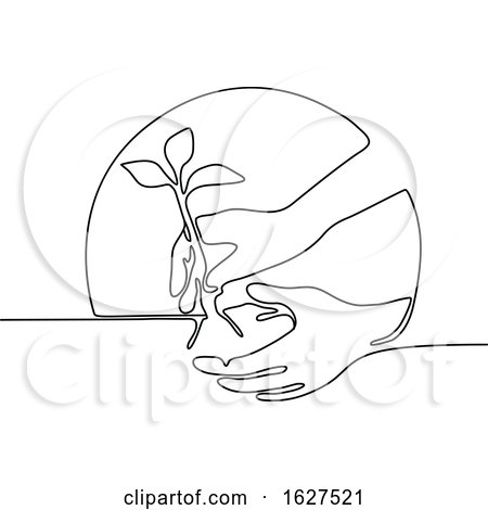 Hand Planting Tree Seedling Continuous Line by patrimonio