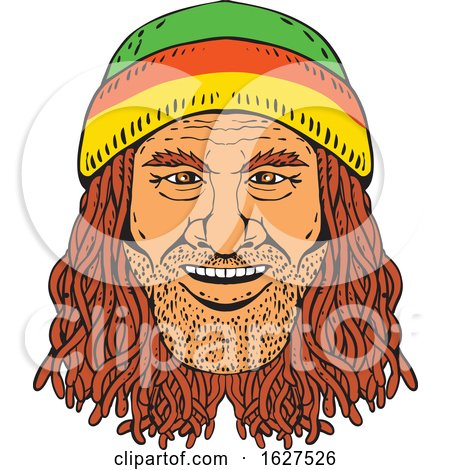 Rastafarian Head Front Drawing Color by patrimonio