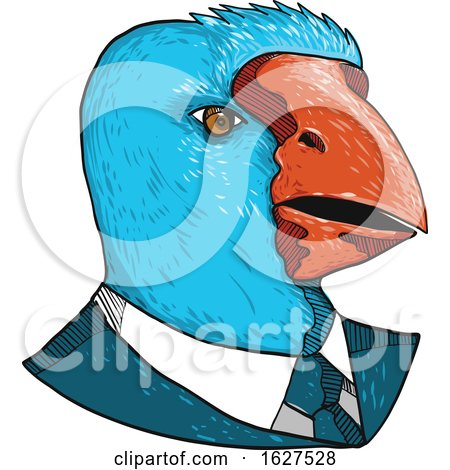South Island Takahe in Business Suit Drawing by patrimonio