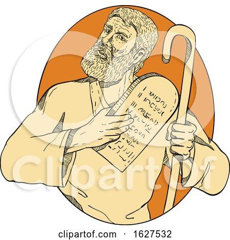 Prophet Moses Ten Commandments Drawing Color by patrimonio