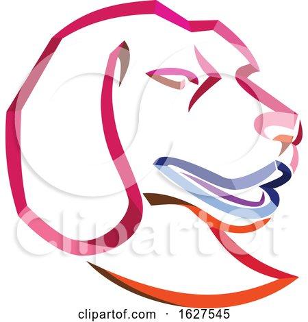 Curly Ribbon Style Beagle Dog Mascot Head by patrimonio