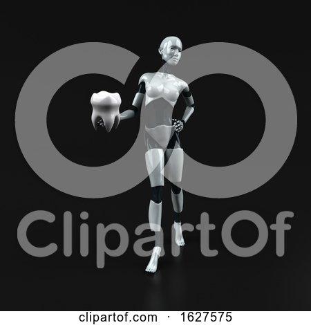 3d Feminine Robot, on a Black Background by Julos