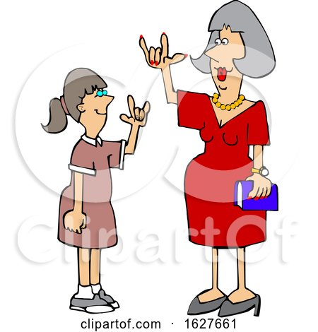 Cartoon Teacher Having a Conversation with a Student in American Sign Language by djart