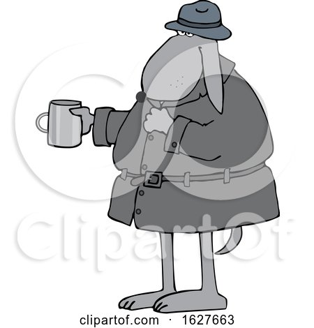 Cartoon Begging Homeless Dog Holding out a Cup by djart