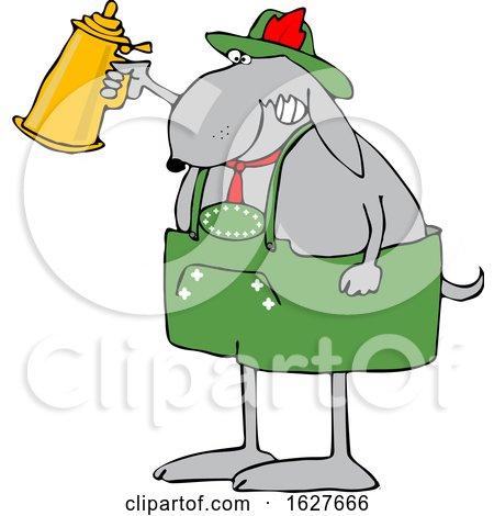 Cartoon Oktoberfest Dog Holding a Beer Stein by djart