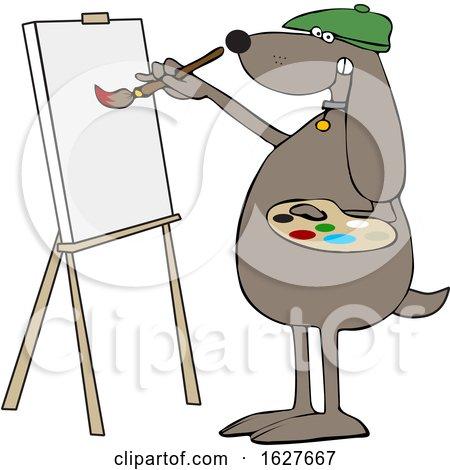 Cartoon Dog Artist Painting on a Canvas by djart