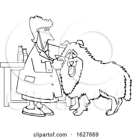 Cartoon Black and White Female Veterinarian Examining a Dog by djart