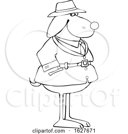 Cartoon Black and White Dog Investigator by djart